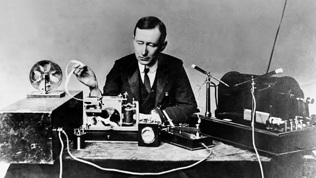 Guglielmo Marconi's operating apparatus similar to the one used by him to transmit the first wireless signal across the Atlantic.