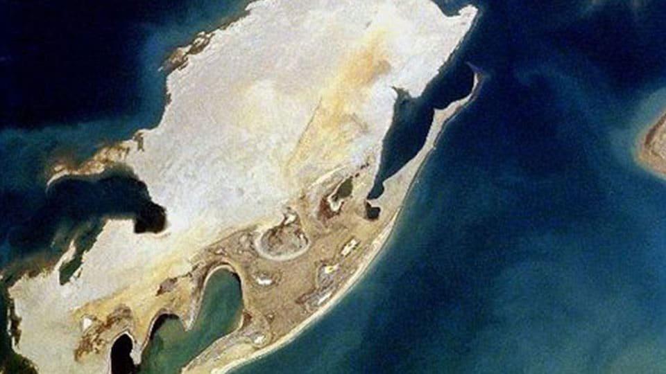 Aerial view of Vozrozhdeniya Island from NASA
