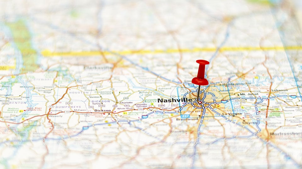 Travel destination - Road map of Nashville Area with pushpin